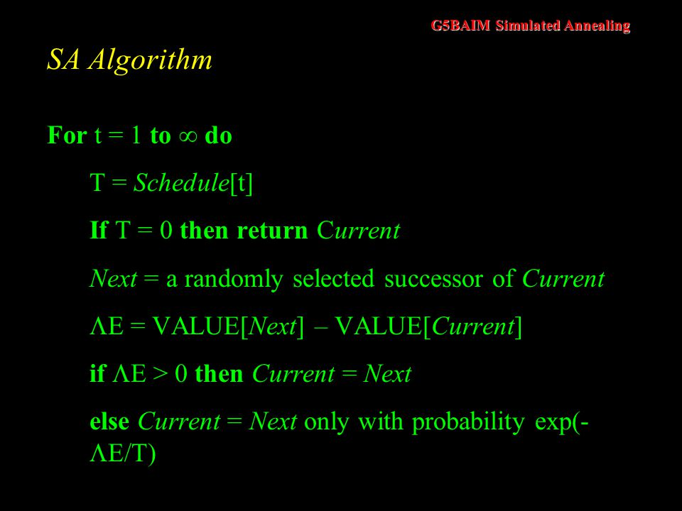 SA Algorithm For t = 1 to  do T = Schedule[t]